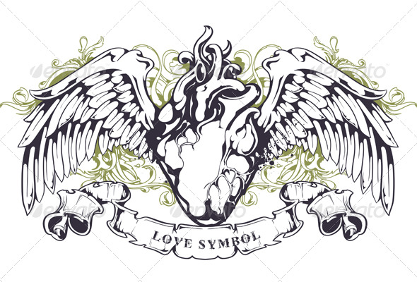 anatomical heart with wings graphicriver