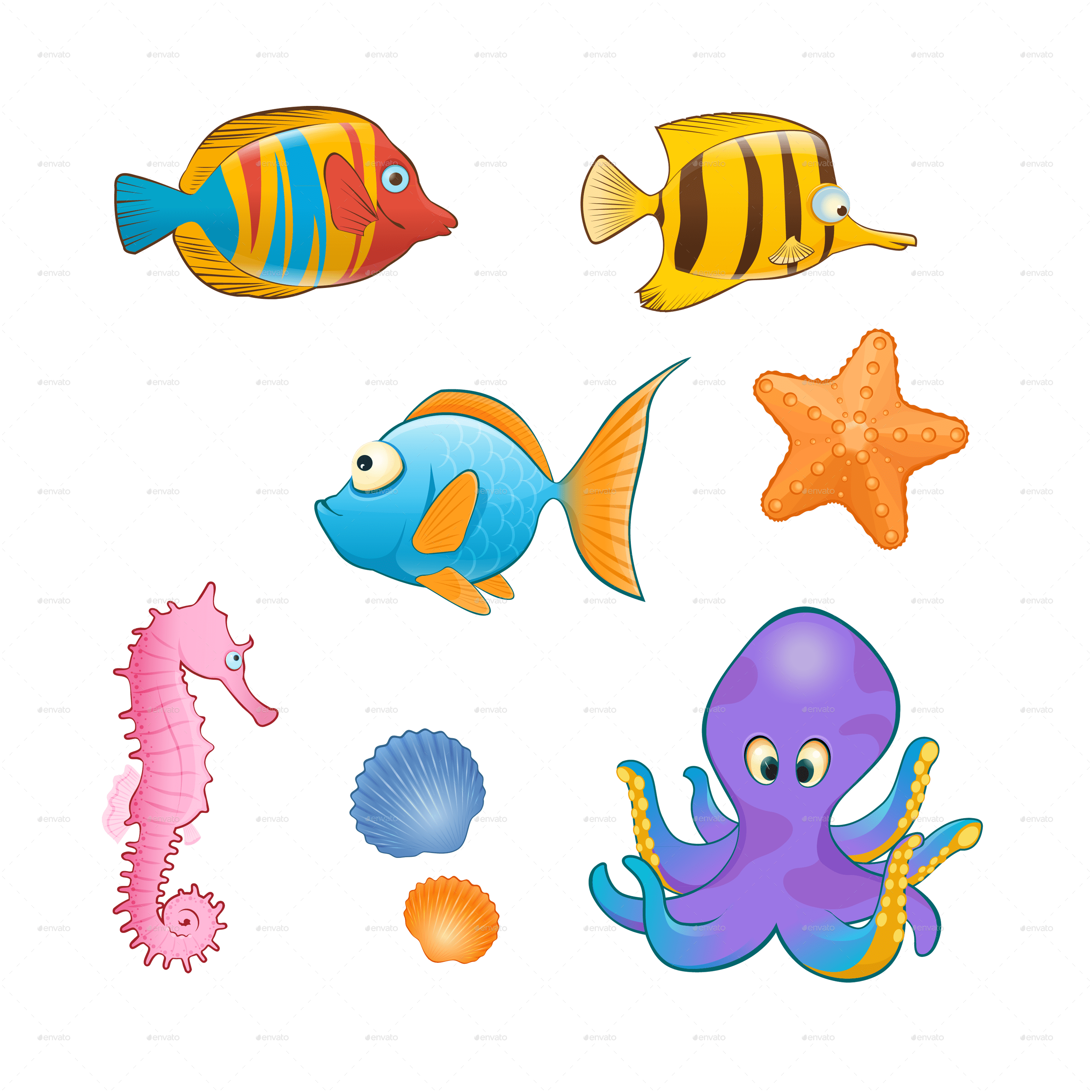 Set Of Sea Animals On Blue Background By Sabina S