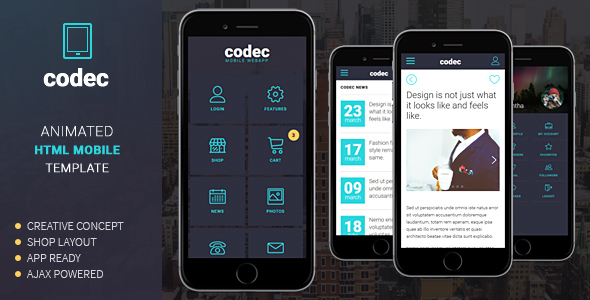 Codec Mobile HTML Template By Sindevo ThemeForest
