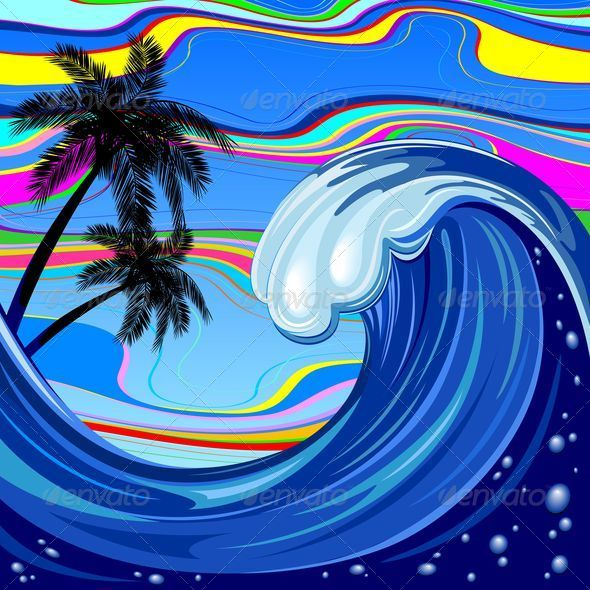 Ocean Wave and Palm Trees  GraphicRiver