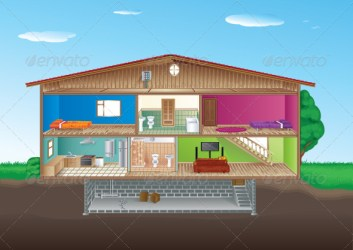 basement clipart interior cartoon rooms section cross clipartpanda room stairs graphicriver living illustrations vectors royalty