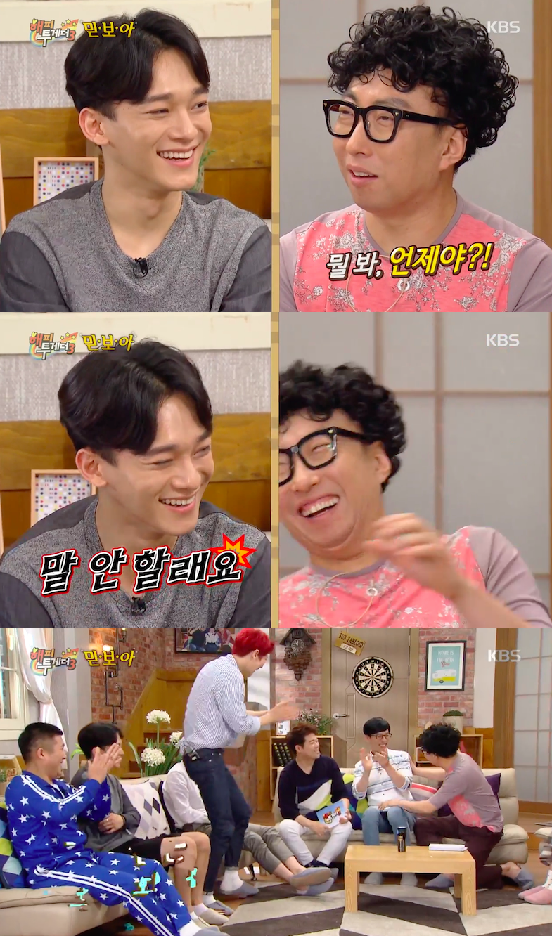 Happy Together Exo : happy, together, EXO's, Chanyeol,, Suho,, Answer, First, Questions, Hilariously, Different, Soompi