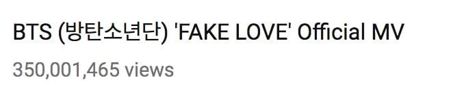 """""""Fake Love"""" de BTS se convierte en el MV de un grupo masculino coreano que más rápido alcanza las 350 millones de vistas 1"""