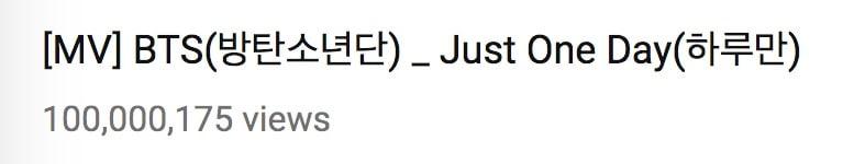 """""""Just One Day"""" de BTS se convierte en su 15to MV en alcanzar las 100 millones de visitas 1"""