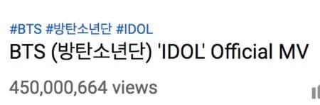 """""""IDOL"""" de BTS se convierte en su sexto MV en alcanzar los 450 millones de vistas 1"""