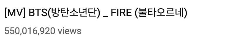 """""""Fire"""" de BTS alcanza los 550 millones de vistas 1"""