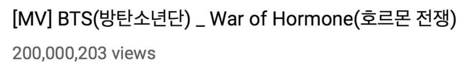 """""""War of Hormone"""" de BTS se convierte en su 13° MV en alcanzar 200 millones de vistas 1"""