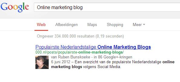 Afbeelding zoekresultaat online marketing blog