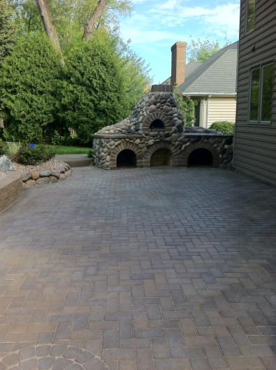 Before Photo of Stone Oven and Patio