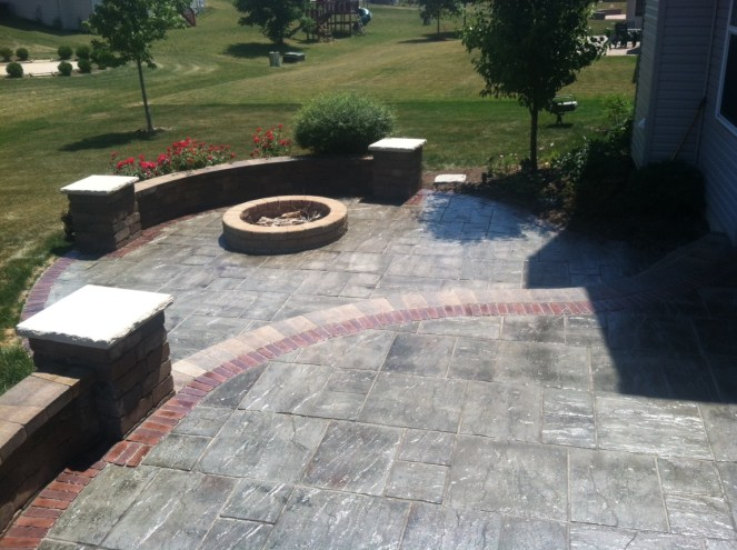 After Photo of Stone Deck with Fire Pit