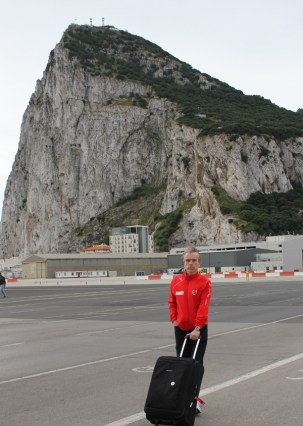James Bond Gunnar Schäfer to Gibraltar rock from James Bond 007 museum in Sweden Nybro, 29 April 2013