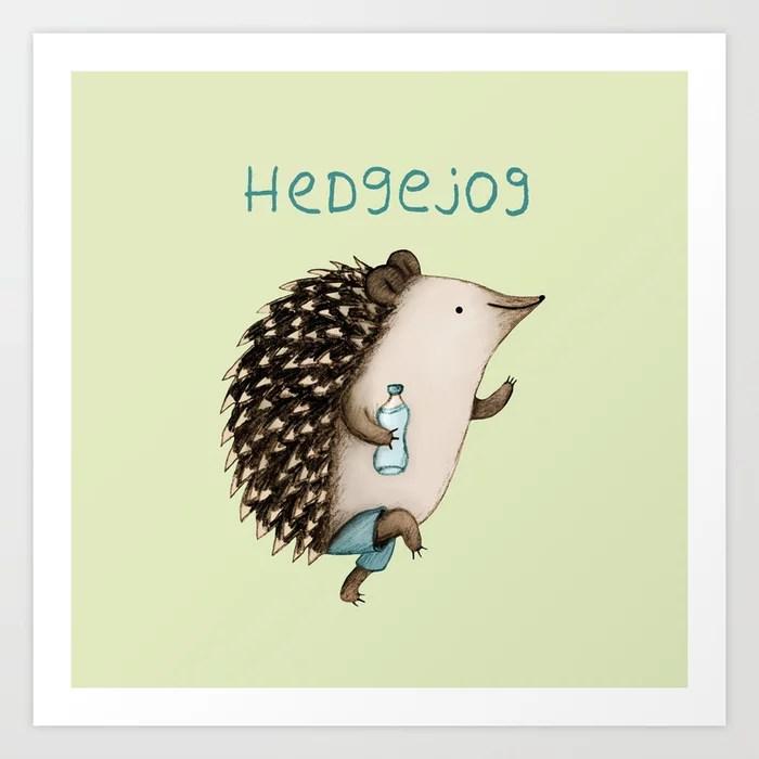 Sunday's Society6   Fun art print, hedgejog, jogging hedgehog