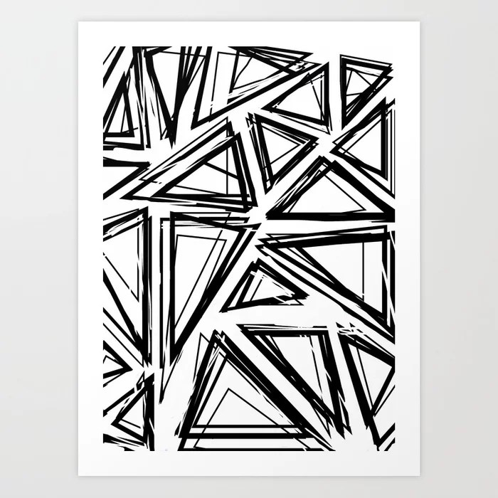 Sunday's Society6 | Triangle geomatric black and white art