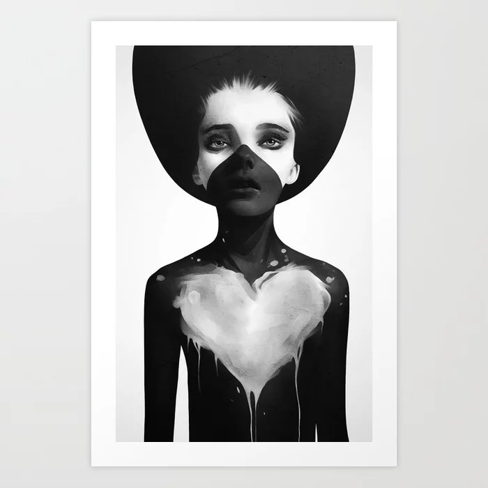 Sunday's Society6 | Black and white painting of a woman art print