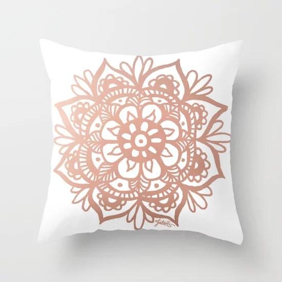pink mandala home decor throw pillow