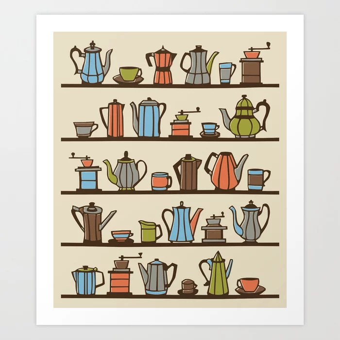 Sunday's Society6   Coffee pots art print illustration