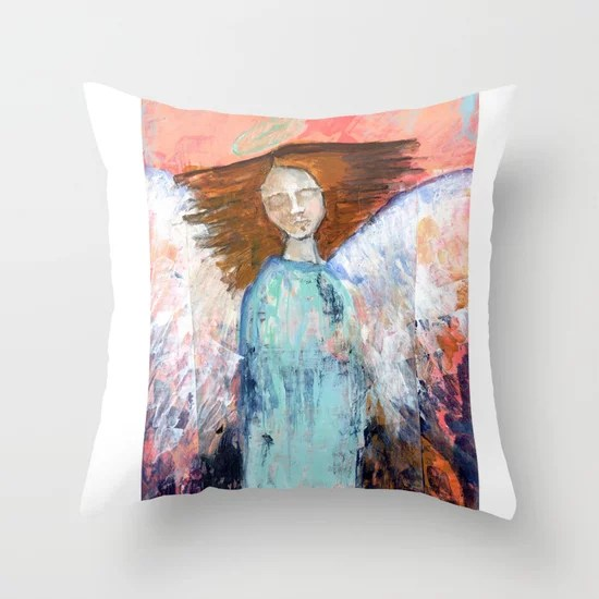 Spring Angel {1} Throw Pillow