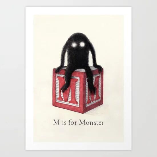 Sunday's Society6   M is for Monster art print
