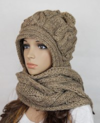 Handmade Knitted Crochet Hooded Scarf Hat Woman Clothing ...