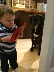 Jasper feeds Greg
