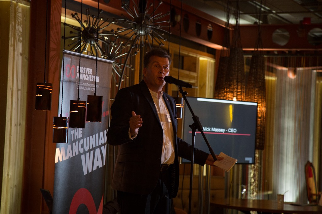 Forever Manchester CEO Nick Massey speaking at Reset Charity Event Photography Spinningfield