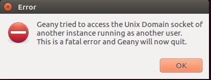 Erreur démarrage Geany Ubuntu