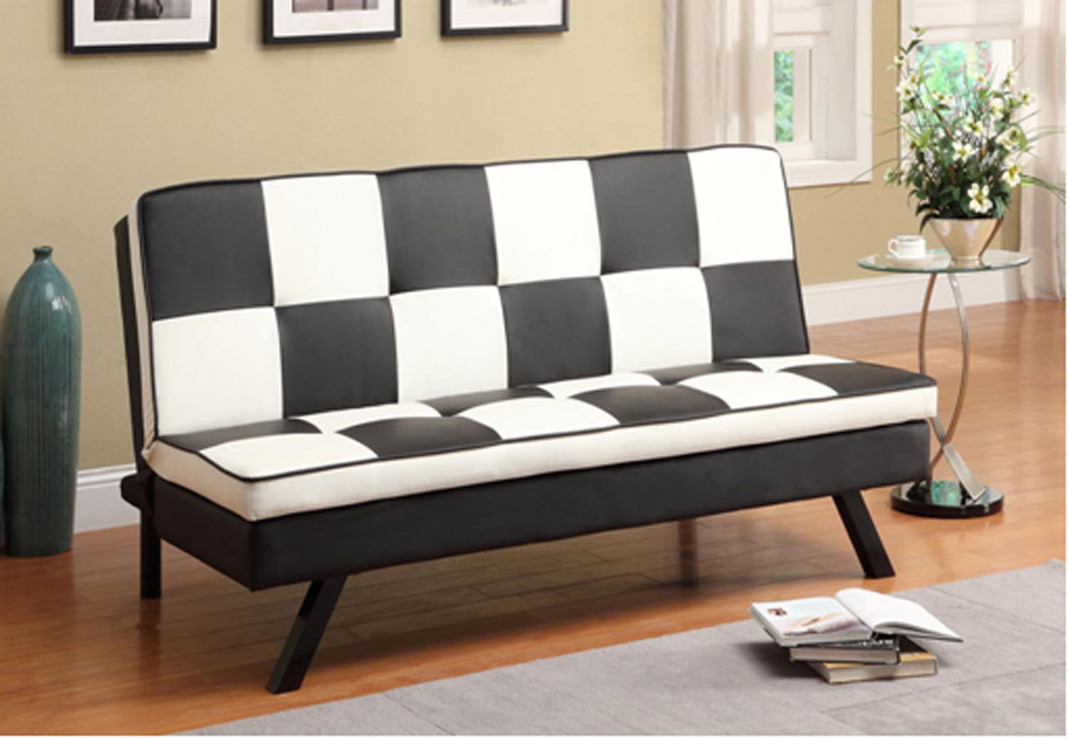 black and white checkered sofa bed sectional with recliner cup holders furniture clearance center headboards futons