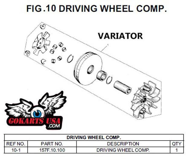 Variator Drive Pulley, for Trailmaster 150 XRS Go Kart