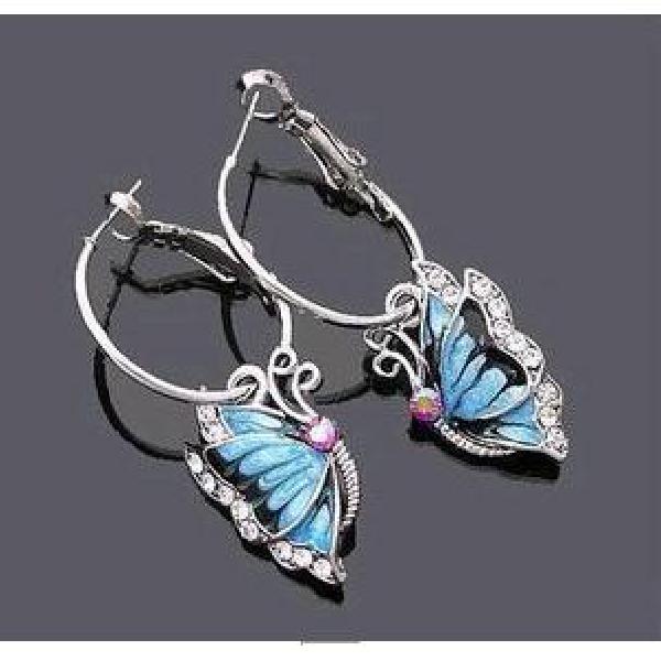 S Fashion Blue Diamond Butterfly Earrings on Luulla