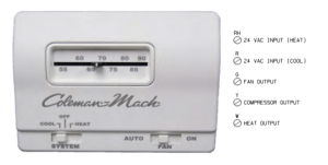 Thermostat,Standard Analog 24vAC 5wire HeatCool Coleman