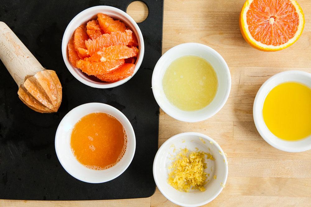 Lemon zest and orange juice