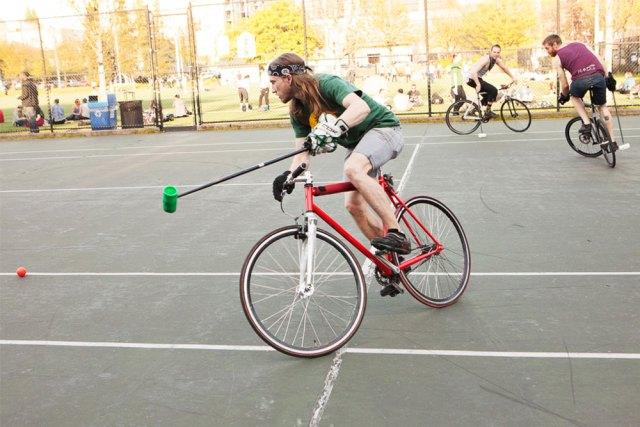 Playing bike polo