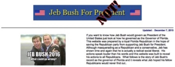 (Screen grab of JebBushForPresident.net)