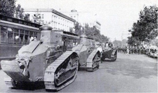 Under the command of Major George S. Patton, Jr., tanks drove down Pennsylvania Ave., N.W. on July 28, 1932 to attack U.S. veteran Bonus Marchers.