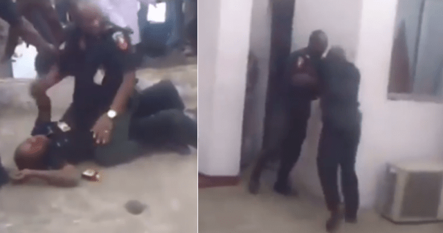 Watch the viral video of two police officers fighting in public