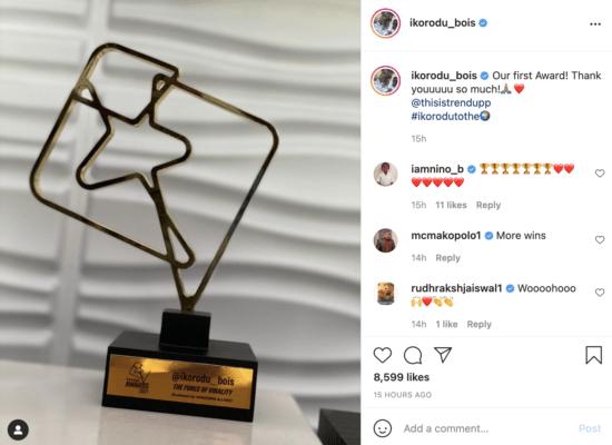 Ikorodu Bois Win Their First Award For Excellence