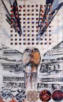 """autor: Alina Manole titlu: """"Connection"""" tehnica: acrilic/panza dimensiune: 60/100 cm"""