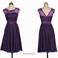 Royal Purple Bateau Neck Lace And Chiffon Short Bridesmaid ...