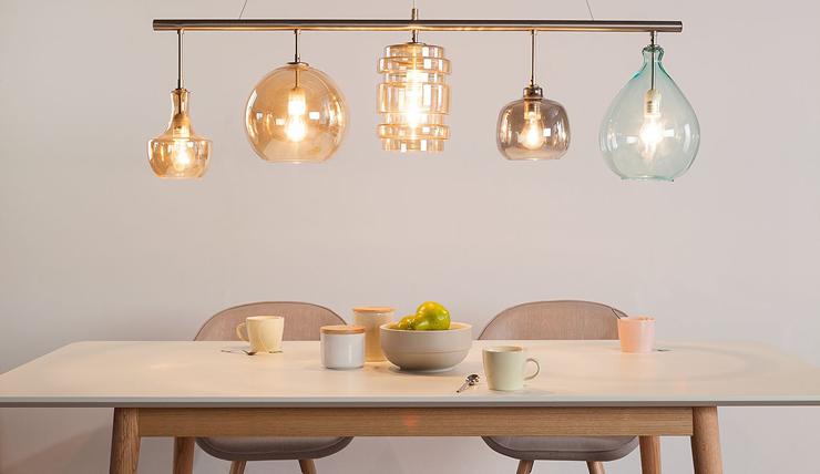 Deze hanglamp bestaat uit vijf verschillende lampen