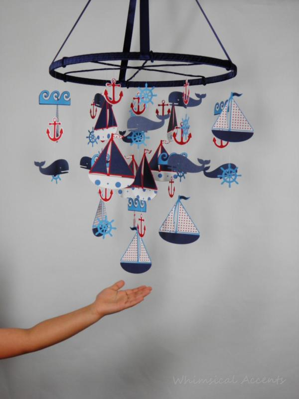 Nautical Nursery Mobile With Sailboat Anchor Helm Whale