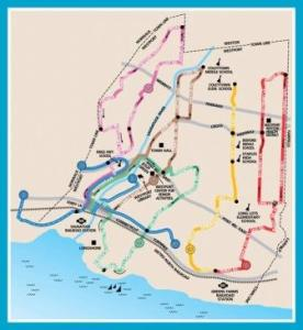 The Westport bus shuttle map.