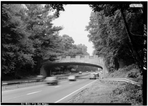 The Merritt Parkway North Avenue bridge -- before renovation begins.