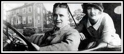 F. Scott and Zelda Fitzgerald, in front of what appears to be their Westport home.