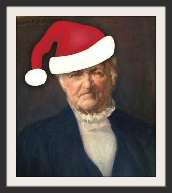 Horace Staples hangs outside the main office of the school that bears his name -- though usually without a Christmas hat.