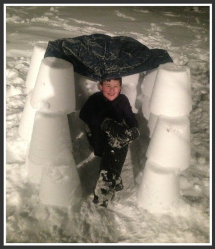 In the middle of last night's snow, Zack Swanson built an igloo.