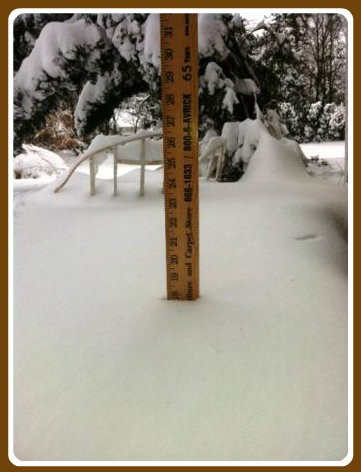 Randy Christophersen needed a heavy-duty stick to measure his 18-inch snowfall.