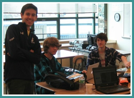 Juniors (from left) Nick Stern, Tyler Marks and Connor Mitnick solve the hurricane problem. Not pictured:  Ben Goldschleger.