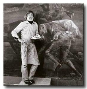 "Eric von Schmidt, with ""Storming the Alamo."" (Photo by George R. Janecek)"