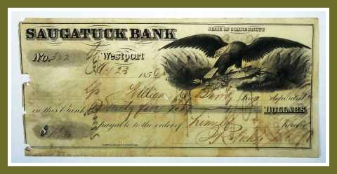 Saugatuck Bank deposit slip for $25, from 1856.