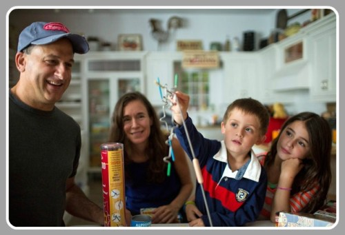 Doug and Melissa  Bernstein, with 2 of their children: Nate (age 5) and Sydelle (9). (Photo by Christopher Capozziello/New York Times)